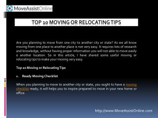 List of Top 10 Moving or Relocating Tips