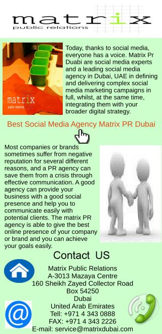 Best Social Media Agency Matrix Pr Dubai