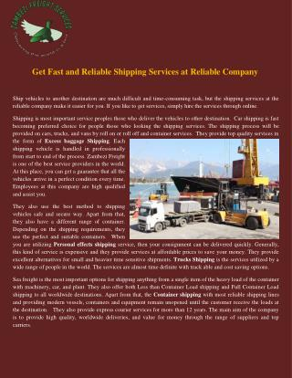Get fast and reliable shipping services at reliable company
