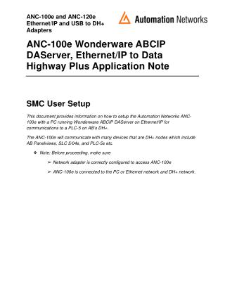 ANC-100e Wonderware ABCIP DAServer, Ethernet/IP to Data Highway Plus Application Note