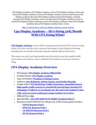 CPA Display Academy review & massive  100 bonus items