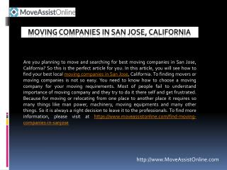 Find Top Moving Companies in San Jose for 2016
