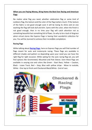 When you are Paying Money, Bring Home the Best Ever Racing and American Flags
