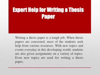 Thesis Paper Help | Best Thesis Writing Help By UK Experts
