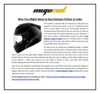 Why You Might Want to Buy Helmets Online in India