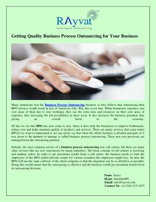 Getting Quality Business Process Outsourcing for Your Business