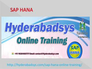 The Best SAP HANA Online Training in USA, UK, Canada.