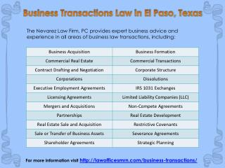 Business Transactions Law in El Paso, Texas