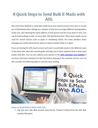 8 Quick Steps to Send Bulk E-Mails with AOL
