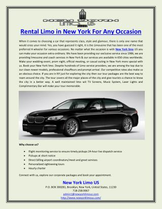 Rental Limo in New York For Any Occasion
