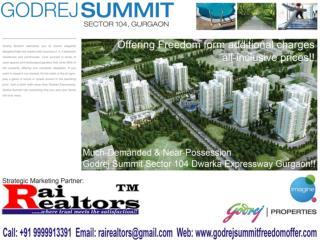 Godrej Summit Freedom Offer || 9999913391 ||Godrej Summit Sector 104 Dwarka Expressway Gurgaon