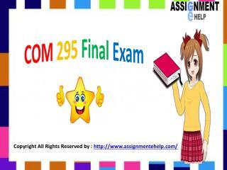 COM 295 Final Exam - COM 295 Final Exam Answers   Assignment E Help
