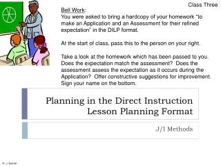 Planning in the Direct Instruction Lesson Planning Format