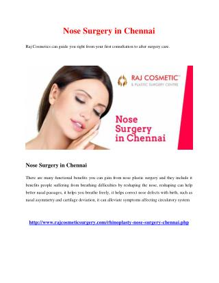 Nose Surgery in Chennai