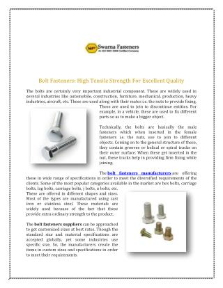 Bolt Fasteners Manufacturers Delhi, SS Bolt Fastener Suppliers Exporters India