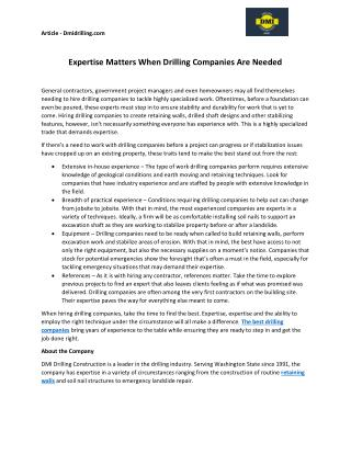 """Expertise Matters When Drilling Companies Are Needed """