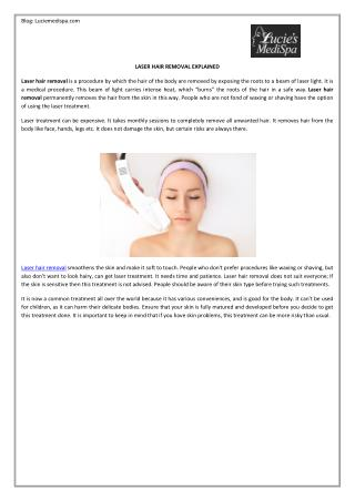 Laser Hair Removal Explained by Lucie Medispa