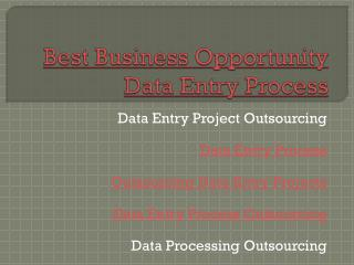 Best Business Opportunity Data Processing Outsourcing