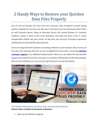 2 Handy Ways to Restore your Quicken Data Files Properly