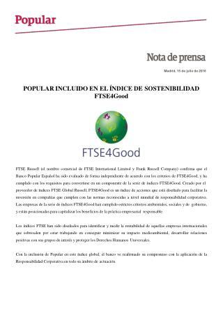 Popular incluído en el índice de sostenibilidad de FTSE4Good