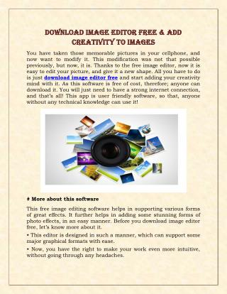 Download Image Editor Free & Add Creativity To Images