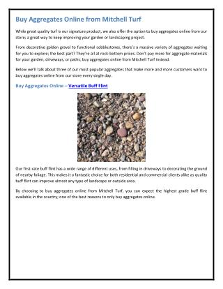 Buy Aggregates Online from Mitchell Turf