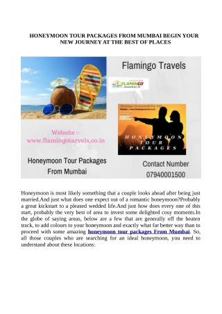 Honeymoon Tour Packages From Mumbai - Moments of Togetherness to Treasure