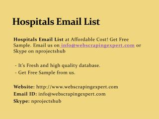 Hospitals Email List