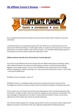 IM Affiliate Funnel 2 Review  - Must read before you buy