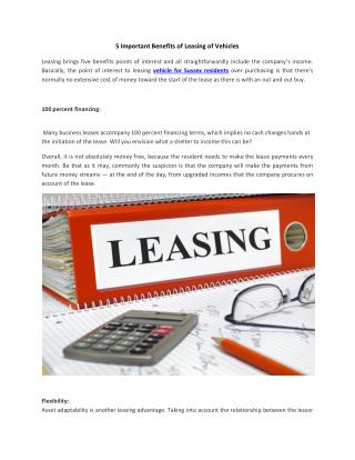 5 Important Benefits of Leasing of Vehicles