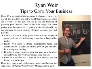 Ryan Weir Giving Tips to Grow Your Business