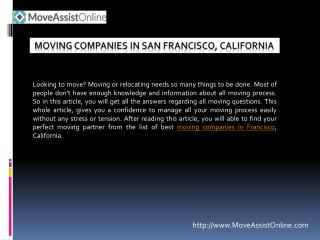 List of Top Moving Companies in San Francisco