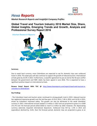 Travel and Tourism Industry 2016 Market Size, Share, Global Insights, Emerging Trends and Growth