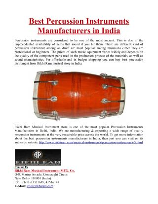 Best Percussion Instruments Manufacturers in India