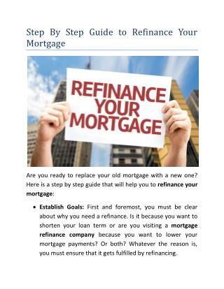 Step By Step Guide to Refinance Your Mortgage