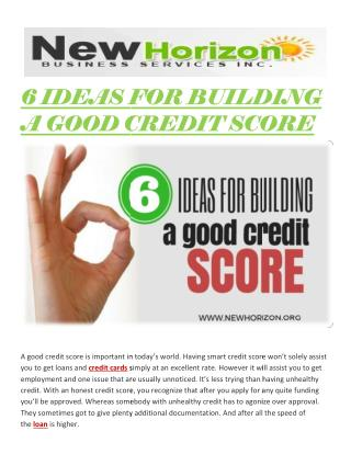 6 IDEAS FOR BUILDING A GOOD CREDIT SCORE