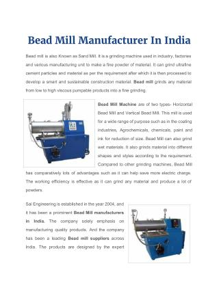 Bead Mill Manufacturer in India