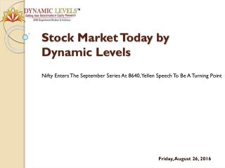 Nifty Enters The September Series At 8640