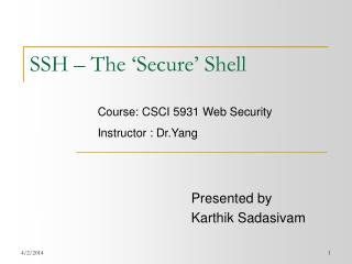 SSH – The 'Secure' Shell
