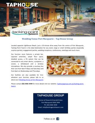Wedding Venue Port Macquarie – Tap House Group