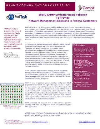 MIMIC SNMP Simulator helps FedTech To Provide Network Management Solutions to Federal Customers
