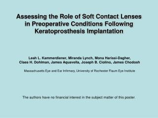 Assessing the Role of Soft Contact Lenses in Preoperative Conditions Following Keratoprosthesis Implantation
