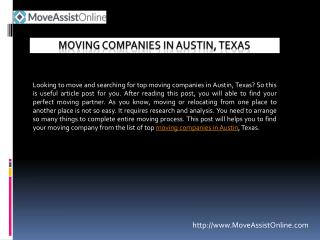 Are You Looking for Top Moving Companies in Austin?