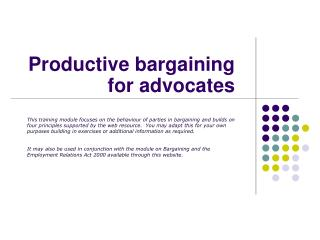 Productive bargaining for advocates