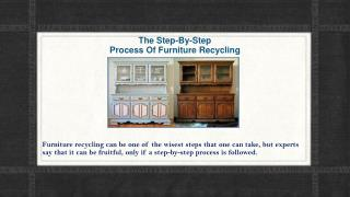The Step-By-Step Process Of Furniture Recycling