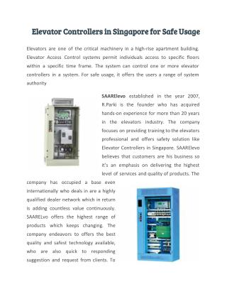 Elevator Controllers in Singapore for Safe Usage
