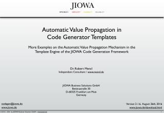 Automatic Value Propagation in Code Generator Templates
