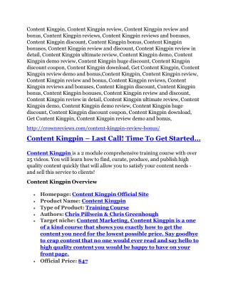 Content Kingpin Review and (MASSIVE) $23,800 BONUSES