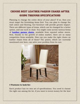 Choose Best Leather Parson Chairs After Going Through Specifications