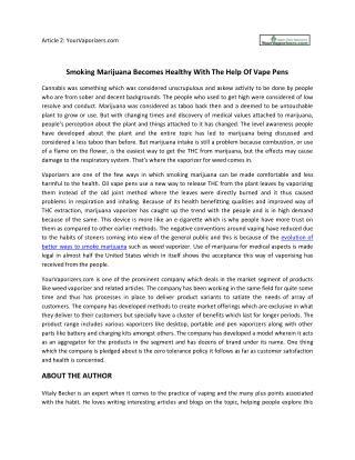 Smoking Marijuana Becomes Healthy With The Help Of Vape Pens